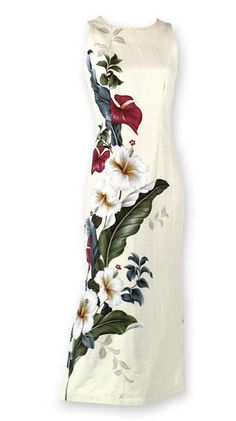 Long Hawaiian Dresses | ... | Iolani Sweetheart Ladies Long Hawaiian Aloha Dress - Cream | W-03