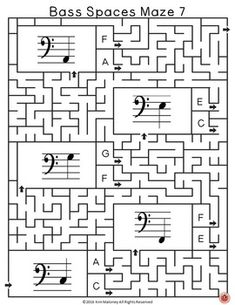 12 music mazes based on the pitch of the bass spaces from F below the staff to B above the staff. |music theory | music worksheets