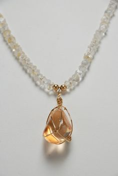 Citrine and Imperial Gold Crystal Quartz Aura, necklace.