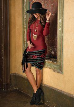 Bordered Tulip Hem Ponte #Knit #Dress #CatoFashions #MyCatoStyle