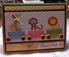 Baby Pull Train Card by LMstamps - Cards and Paper Crafts at Splitcoaststampers