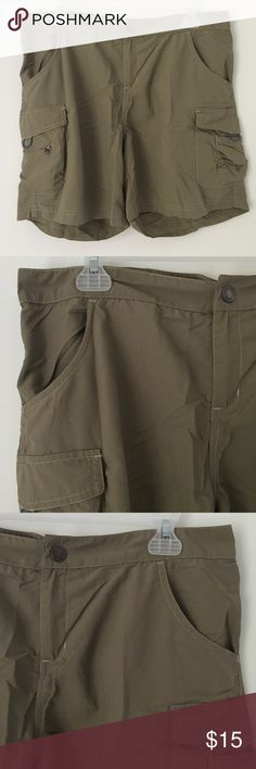 """SILKY SMOOTH MUTED COCOA BROWN CARGO SHORTS Tags: Amazing Silky Smooth Flowy Lightweight Pale Light Muted Mocha Cocoa Brown Cargo Pocket Military Work Outdoor Hiking Walking Biking Athletic Comfortable Casual Everyday Shorts.  Brand new. Never used. NO flaws. TRUE COLOR IS PALE LIGHT BROWN. (New pics coming soon!)  Size: Tagged as women's LARGE.  •Waist- 17"""" across •Rise (crotch to waist)- 10"""" high •Inseam (crotch to bottom hem)- 5.5"""" long  Brand: White Sierra.  •NO holds, returns or…"""