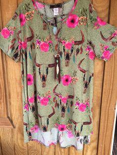 Green skull floral criss cross tunic/dress