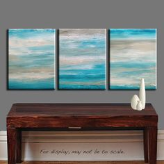 Original Abstract Painting - 33x14 -  Shades of TURQUOISE BLUE Landscape Beach Seascape  by Marie.