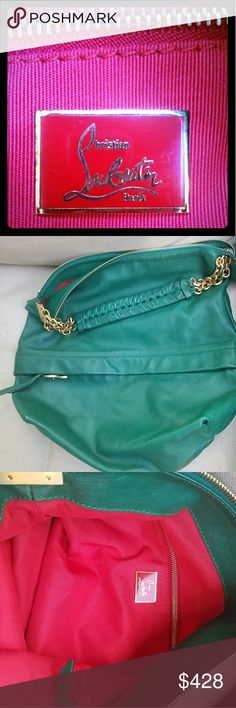 Christian Louboutin 🖤 Beautiful green leather, sexy red lining, all gold toned hardware, hobo style bag. Has never been used. Brand new. Dust bag incl. Open to reasonable offers. 🖤 Christian Louboutin Bags Hobos