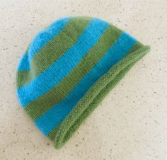 Baby cashmere beanie in turquoise&green stripes