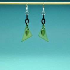 Green Triangle and Dagger Earrings by Bungalow42 on Etsy