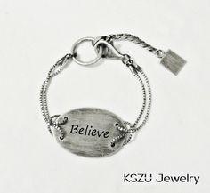 KSZU- Believe Silver Oval Plate Bracelet [light] Bracelets, Silver, Jewelry, Jewlery, Jewerly, Schmuck, Jewels, Jewelery