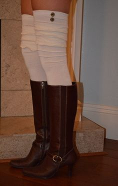 Ivory triple ruffle over the knee boot socks with by WrapItUpStyle, $24.95