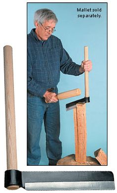 """The mechanical advantage of a 20"""" long handle, along with a blade designed for controlled splitting, lets a user do quite accurate work after a bit of practice. The blade is 12"""" long, 2-1/2"""" deep and 5/16"""" thick.    Basic instructions for use, including how to make a riving brake, $38.50"""