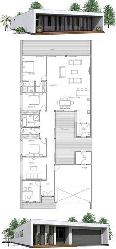 Modern House Home Plans House Plans Contemporary House Designs homeplans houseplans floorplans housedesigns Contemporary House Plans, Modern House Plans, Modern House Design, House Floor Plans, Contemporary Design, Architecture Plan, Residential Architecture, Three Bedroom House Plan, Simple House Plans