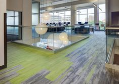 Four Learning Spaces Connected By Color Carpet Design, Floor Design, Tile Design, Office Carpet, Office Floor, Green Carpet, Carpet Colors, Office Interior Design, Office Interiors