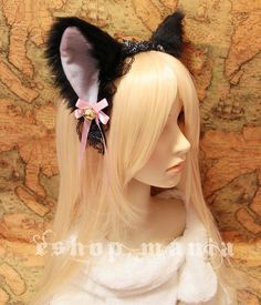 Black w White / Pink / Black inside CAT kitty ears LOLITA maid black Lace HEADBAND w pink ribbons & bells long fur set Costume Cosplay Party. $21.99, via Etsy.
