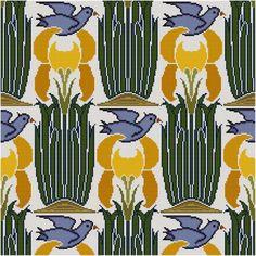 Yellow Iris and Blue Bird Panel cross stitch pattern PDF botanical Art Nouveau