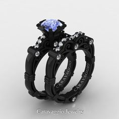Caravaggio 14K Black Gold 1.25 Ct Light Blue Sapphire Diamond Engagement Ring Wedding Band Set R623S-14KBGDNLBS | Art Masters Jewelry