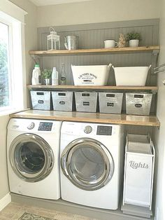 13 Laundry Room Ideas I Found for Inspiration ~ Bluesky at Home - - 13 Awesome Laundry Room Ideas for Inspiration. Practical ideas, decorative inspiration and design advice that you'll love for a laundry room makeover. Laundry Room Storage, Laundry Room Design, Laundry Decor, Ikea Laundry Room, Country Laundry Rooms, Laundry Nook, Laundry Closet, Basement Storage, Laundry Tips