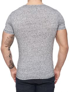 with a mock collar and a badge / crest on the left side of chest / casual muscle slim body fit fitted tee shirt Slim Body, New Man, Nice Body, V Neck T Shirt, Tee Shirts, Men Sweater, Corner, Band, Gray