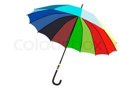 Stock vector of 'Illustration of single multicolored umbrella against white'