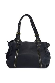 Carlos Falchi- Black Leather Studded Shoulder Bag | Current Boutique