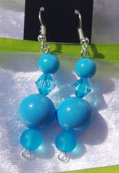 Bright Blue  Earrings in choice of Gold or by TwistedInTheTropics, $5.95