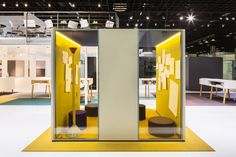 Carpet Concept Flagship Stand at Orgatec 2014 by ACTINCOMMON, Cologne Germany trade fairs Office Interior Design, Office Interiors, Visual Merchandising, Yellow Office, Temporary Architecture, Innovative Office, Retro Office, Corporate Design, Retail Design