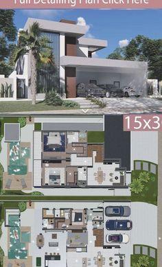 Sims House Design, House Front Design, Modern House Design, Modern House Floor Plans, Dream House Plans, Luxury Modern Homes, Luxury Houses, Casas The Sims 4, House Construction Plan