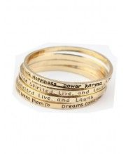 Skinny Gold Metal Slogan Bracelet
