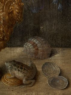 Georg Flegel,  1566 Olomouc - 1638 Frankfurt, and workshop, STILL LIFE WITH VASE, FROG, WALNUTS, SHELLS AND COINS, CA. 1620(detail)
