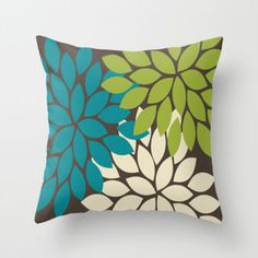 25 Home Decoration Organization and Storage Tips Bold Colorful Biege Brown Teal Green Dahlia Flower Burst Petals Throw Pillow by TRM Design on Wanelo The Best of inerior design in Living Room Green, New Living Room, Living Room Decor, Brown Teal, Teal Green, Green And Brown, Green Pillows, Throw Pillows, Living Room Inspiration
