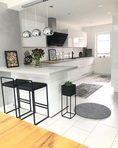 Kitchen Area Rugs, Kitchen Room Design, Home Room Design, Modern Kitchen Design, Home Decor Kitchen, Interior Design Kitchen, Elegant Kitchens, Cuisines Design, Home Decor Furniture