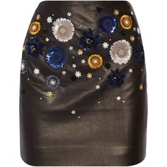 Topshop Unique Linard embellished leather mini skirt (640 BAM) ❤ liked on Polyvore featuring skirts, mini skirts, bottoms, black, stretchy mini skirts, leather miniskirt, short leather skirt, stretch skirt and short skirts