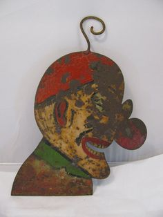 Carnival Painted Metal Clown Head. (Probably from a shooting gallery)