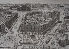 Impression of the centre of Bucharest, the eccentric capital of Romania. This drawing was an attempt to offset the shapeless modernity of the communist idea of urban planning against the charming, humane remains of what used to be beautiful city. Cityscape Drawing, City Drawing, Drawing Style, Capital Of Romania, Paris New York, Small Drawings, Hand Drawings, Neoclassical Architecture, Architecture Drawings