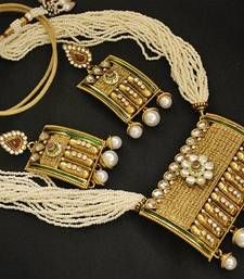 Royal Rajwadi Maharana Pratap Necklace set with studded American Diamond & Pearl drops shop online.
