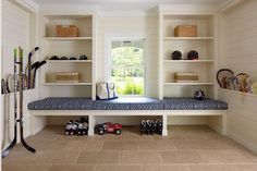 Built In Mudroom Bench, Cottage, laundry room, Brooks & Falotico