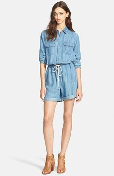 Hinge® Long Sleeve Chambray Romper available at #Nordstrom