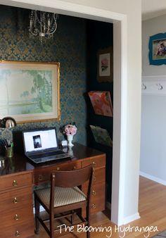 Transform a small closet into an elegant home office.