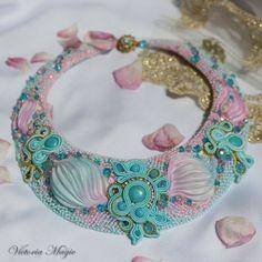 Soutache embroidery and Shibori ribbon necklace by SoutacheMagic