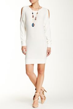 Cold Shoulder Sweater Dress by Go Couture on @HauteLook