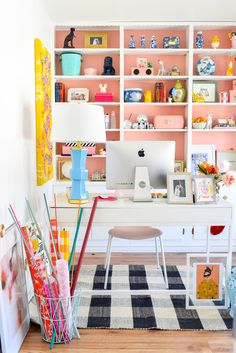 We painted our wood panelling in a bright white and Noble Blush (pink) from BEHR paint to create a feminine and colourful home office space. Office Interior Design, Home Office Decor, Office Interiors, Office Ideas, Home Decor, Pink Home Offices, Cool Office Space, Office Spaces, Small Office