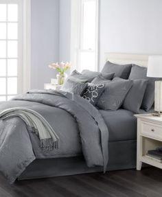 Martha Stewart Collection Juliette Graphite 14-Pc. Queen Comforter Set, Only at Macy's | macys.com