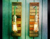 Pair Vintage Industrial Style Sconces Lamps with Reclaimed Wood Lath, Exposed Edison Bulbs Included