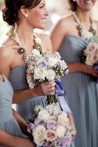pale purple grey dress and change flowers to bright purple/deep blues + navy + dark grey suits