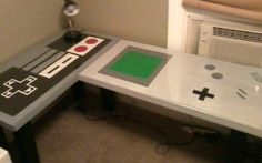Here's the kind of back-to-school decor we nerds can really get into -- a desk dedicated to old school Nintendo.    Reddit user CantEvenRemember created two desks painted to resemble the original