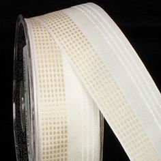Ivory and White Small Squares Taffeta Wired Craft Ribbon 15 x 54 Yards ** Want additional info? Click on the image.