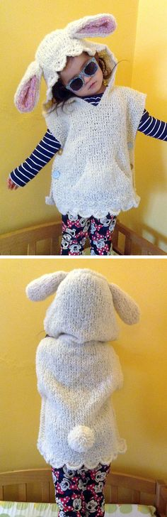 Free Knitting Pattern for Cheeky Rabbit Poncho - Child's poncho with bunny hood with ears.lace borders, and buttoned sides. Designed by Noriko Grace