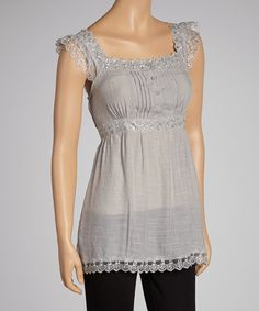 Love this Silver Lace Empire-Waist Sleeveless Top on #zulily! #zulilyfinds