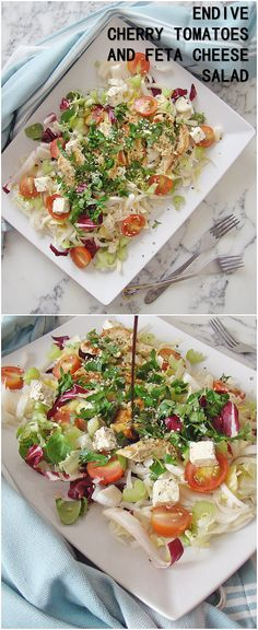 Endive cherry tomatoes and feta cheese salad
