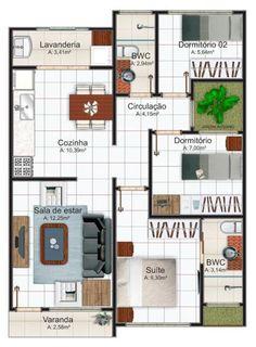 Plano casa moderna de tres dormitorios