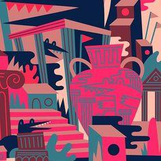 Grecian gator gang. WIP (?) . . . . #illustration #greek #alligator #architecture #illustrator #pink #design #art #drawing #house #crocodile #print #artwork #graphicdesign #artist #wilderness #nature #plants #ruins #draw #digitalart #vector #geometric #graphic #wildlife #greece #reptile